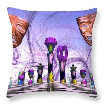 Mardi Gras Chess Throw Pillow by Jacqueline Lloyd