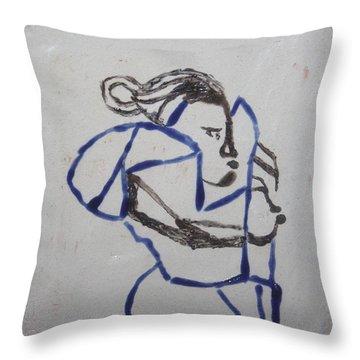 Maria - Tile Throw Pillow by Gloria Ssali