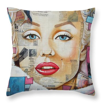 Marilyn In Pink And Blue Throw Pillow by Joseph Sonday