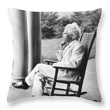 Mark Twain On A Porch Throw Pillow by Underwood Archives