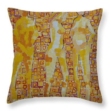 Mary Gestured Thrice Throw Pillow