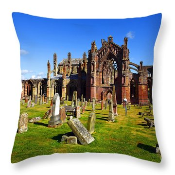 Throw Pillow featuring the photograph Melrose Abbey Scotland by Craig B