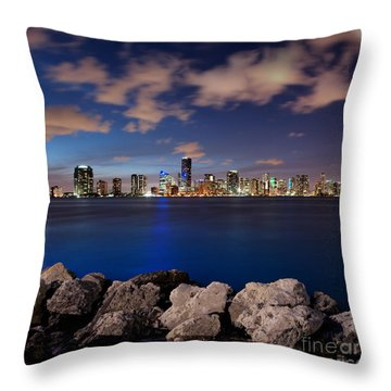 Miami Skyline At Night Throw Pillow by Carsten Reisinger