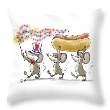 Mic Mac And Moe's Happy 4th Of July Throw Pillow
