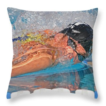 Michael Phelps Throw Pillow by Duncan Selby