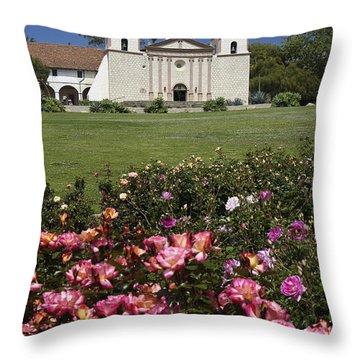 Mission Santa Barbara Throw Pillow by Michele Burgess