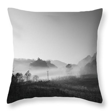 Mist In The Valley Throw Pillow by Setsiri Silapasuwanchai