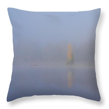Misty Morning On A Lake Throw Pillow by Jouko Lehto