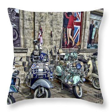Mod Scooters And 60s Fashion Throw Pillow