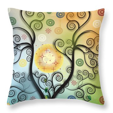 Throw Pillow featuring the digital art Moon Swirl Tree by Kim Prowse