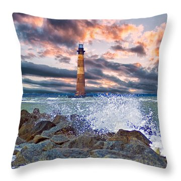 Morris Island Lighthouse Throw Pillow