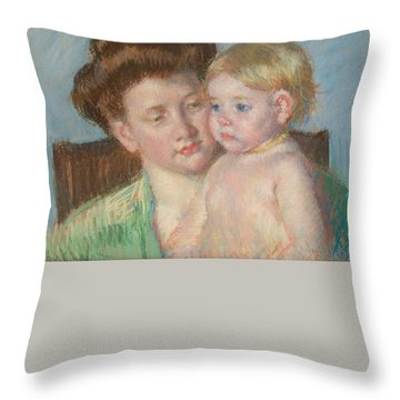 Throw Pillow featuring the painting Mother And Child by Celestial Images