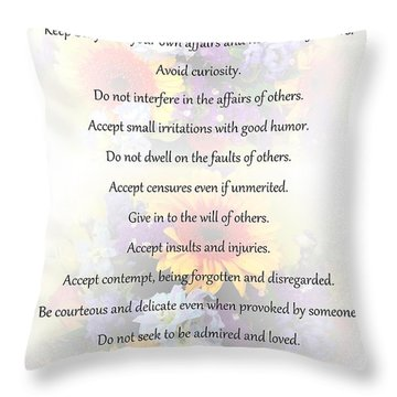 Mother Theresa's Rules For Humility Throw Pillow
