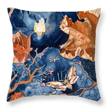 Moths To A Flame Throw Pillow by Katherine Miller