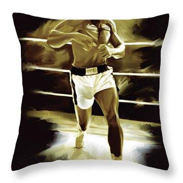 Muhammad Ali Boxing Artwork Throw Pillow by Sheraz A