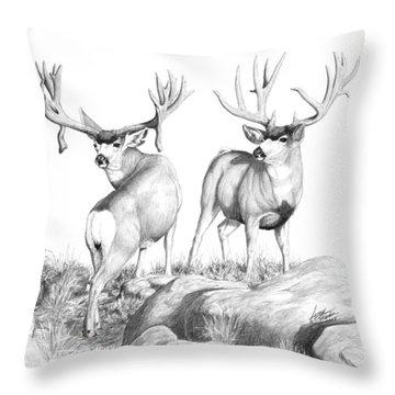 2 Muley Bucks Throw Pillow