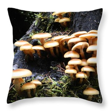 Throw Pillow featuring the photograph Mushrooms On A Stump by Chalet Roome-Rigdon