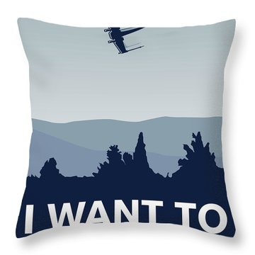 My I Want To Believe Minimal Poster-xwing Throw Pillow