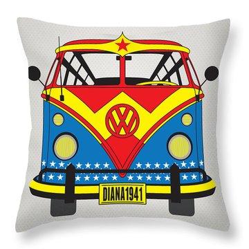 My Superhero-vw-t1-wonder Woman Throw Pillow