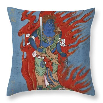 Mythological Buddhist Or Hindu Figure Circa 1878 Throw Pillow by Aged Pixel