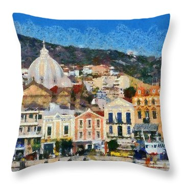 Mytilini Port Throw Pillow