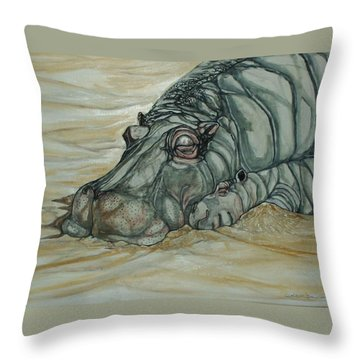 Nap Time Throw Pillow by Anne Buffington