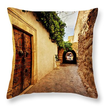 Narrow Street In Souk / Hammamet Throw Pillow