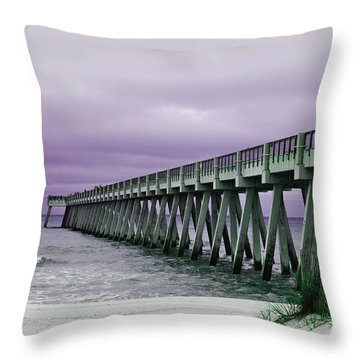 Throw Pillow featuring the photograph Navarre Pier by Janice Spivey
