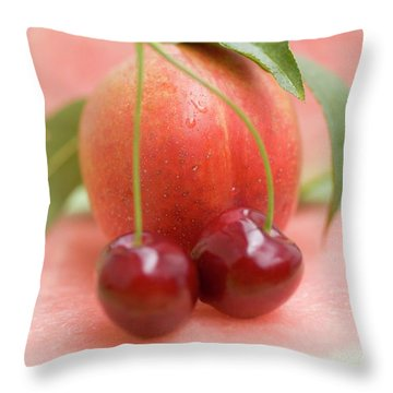 Nectarine With Leaves, Watermelon And Cherries Throw Pillow