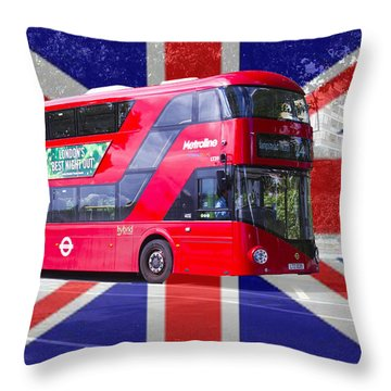 New London Red Bus Throw Pillow
