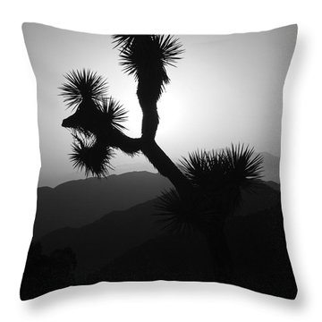 New Photographic Art Print For Sale Joshua Tree At Sunset Black And White Throw Pillow