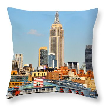 New York City Skyline With Empire State Throw Pillow