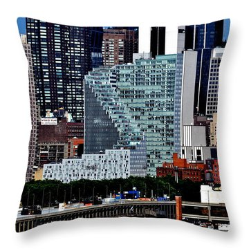 New York City Skyline With Mercedes House Throw Pillow