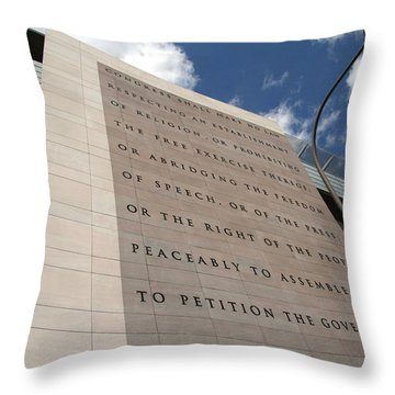 Throw Pillow featuring the photograph The Newseum by Cora Wandel