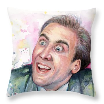 Nicolas Cage You Don't Say Watercolor Portrait Throw Pillow