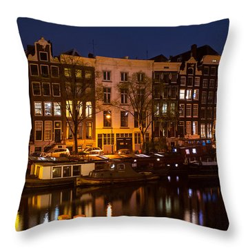Night Lights On The Amsterdam Canals 7. Holland Throw Pillow by Jenny Rainbow