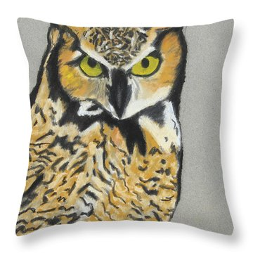 Throw Pillow featuring the painting Night Owl by Jeanne Fischer
