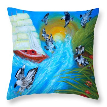 Nine Eagles For Success. Soul Collection Throw Pillow by Oksana Semenchenko