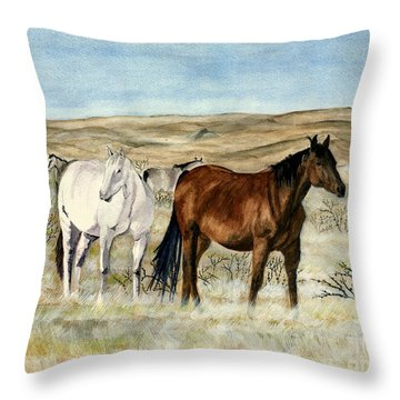 Throw Pillow featuring the painting Nine Horses by Melly Terpening