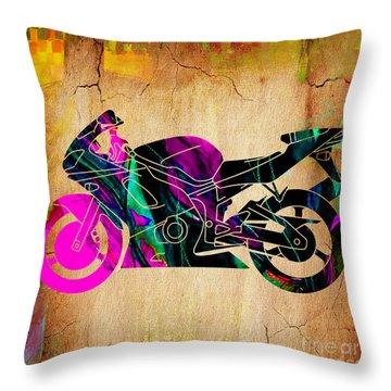 Ninja Motorcycle Painting Throw Pillow