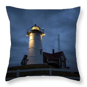Nobska Lighthouse Throw Pillow by John Greim