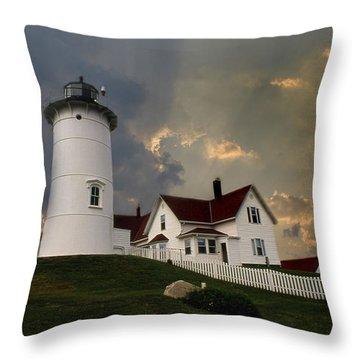 Nobska Lighthouse Color  Throw Pillow