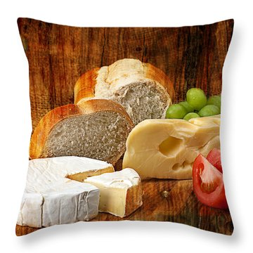 Throw Pillow featuring the photograph Norwegian Jarlsberg And Camembert by Gunter Nezhoda