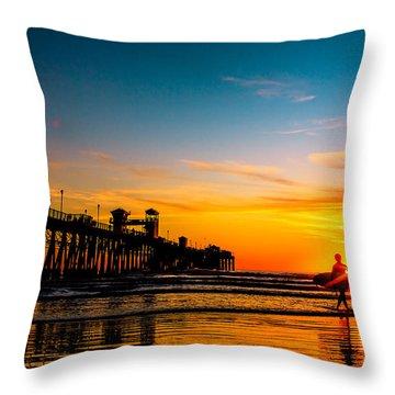 Oceanside Pier At Sunset Throw Pillow