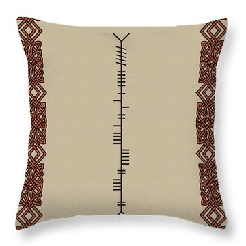 Throw Pillow featuring the digital art O'connor Written In Ogham by Ireland Calling