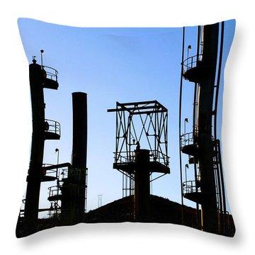 Oil Refinery Throw Pillow by Henrik Lehnerer