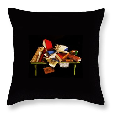 Old Books For Sale Throw Pillow by Barry Williamson