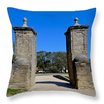 Old City Gates Of St. Augustine Throw Pillow