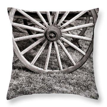Old Wagon Wheel On Cart Throw Pillow