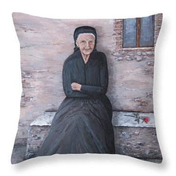 Old Woman Waiting Throw Pillow